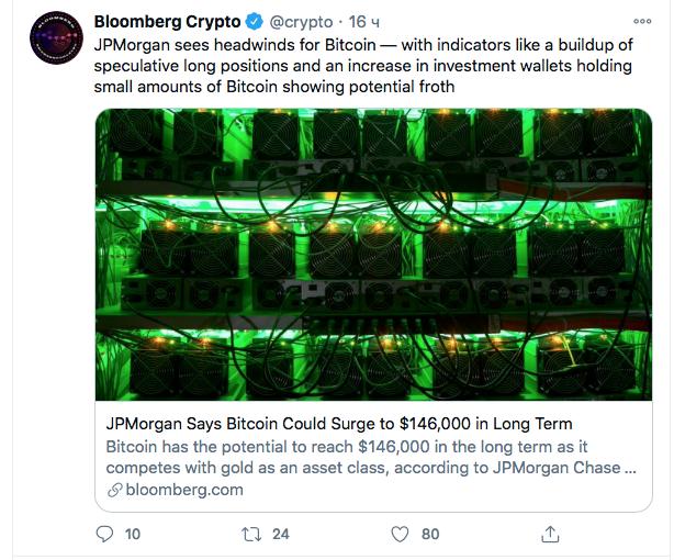 JPMorgan: Цена биткоина достигнет $146,000